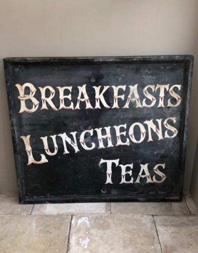 Huge 1930/40s Wooden Advertising Sign - Breakfasts Luncheons Teas