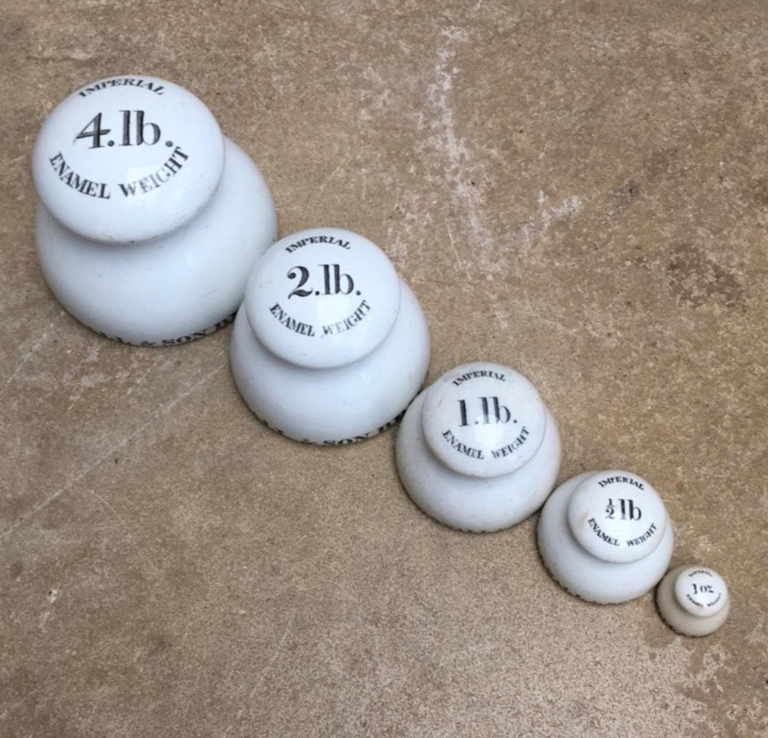 Super Rare Run of Victorian Ceramic Parnall & Son Scale Weights