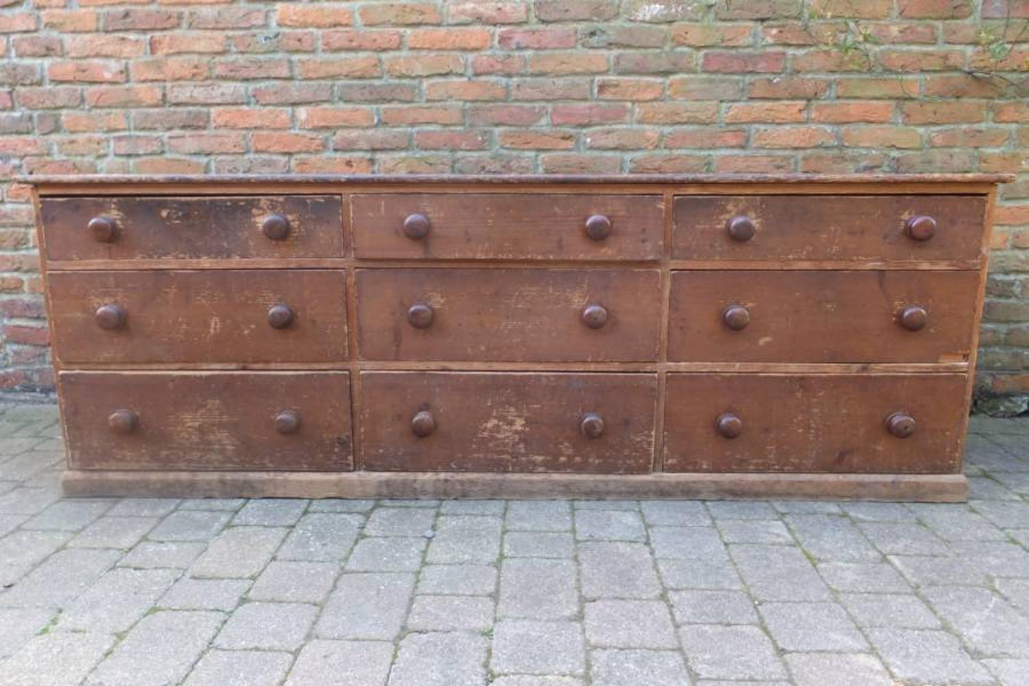 Victorian Pine Large 9 Drawer Counter - Sideboard In Complete Original