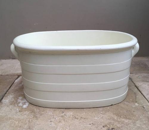 Edwardian Wedgwood White Ironstone Banded Footbath
