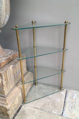 Mid Century Quality Brass & Glass Corner Shelves