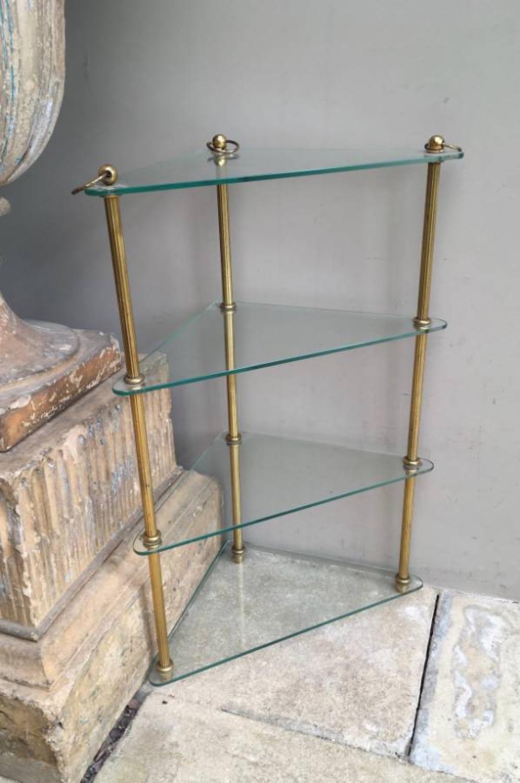 Mid Century Quality Brass & Glass Corner Shelves