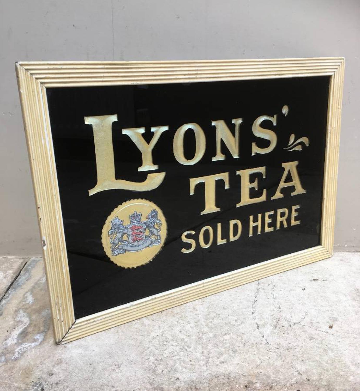 Rare 1920s Black Glass Framed Shops Advertising Sign - Lyons Tea Sold