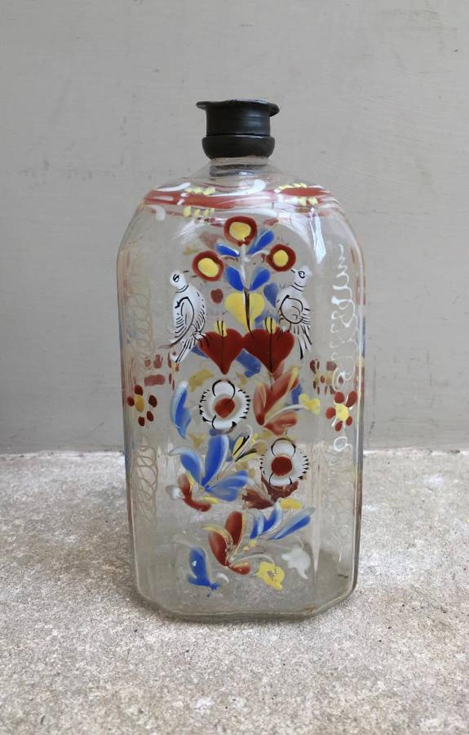 Rare 18th Century Glass Bottle with Enamel Decoration - Love Birds - O