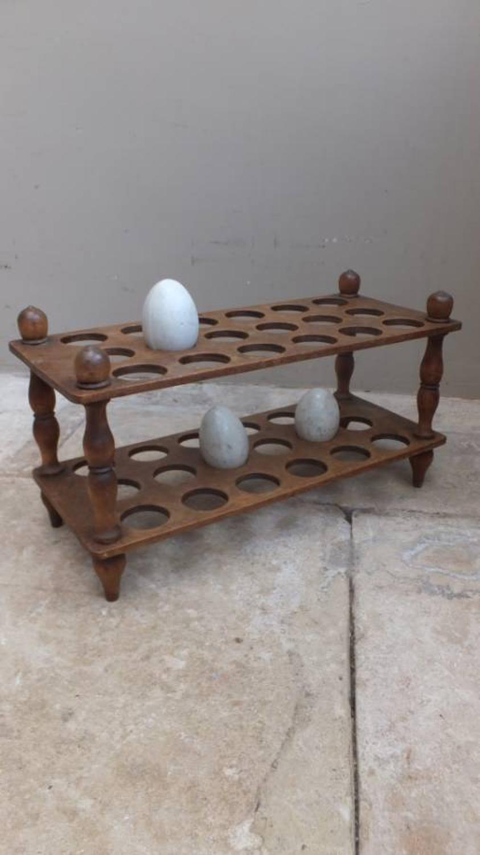 Victorian Treen Two Tier Egg Rack to Hold 3 Dozen Eggs
