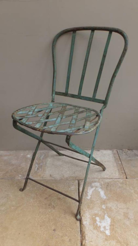 Victorian Folding Iron Strap Work Chair in Original Green Paint