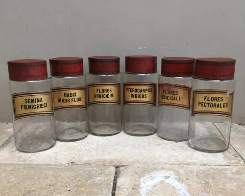 Edwardian Chemists Jars with Gilt Labels & Toleware Lids - All Flowers