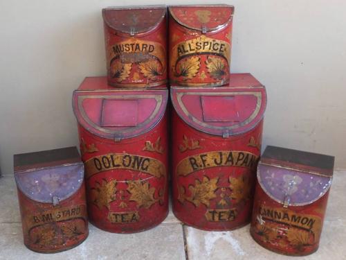 Rare Victorian Shops Toleware Tea & Spice Tins