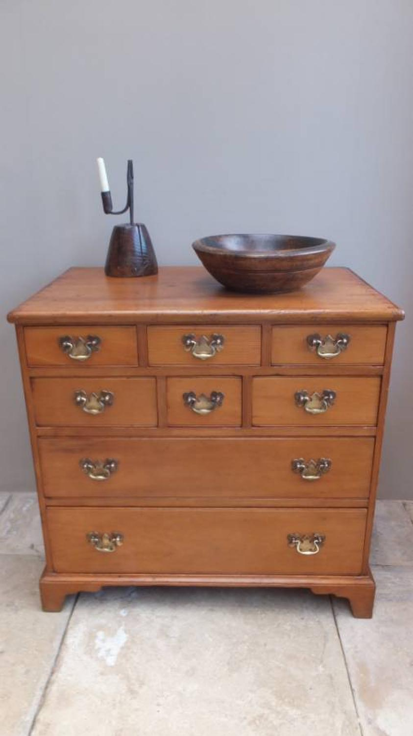 Early Victorian English Pine Chest of Eight Drawers