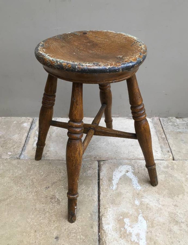 Late Victorian Pine Stool - Original Paint