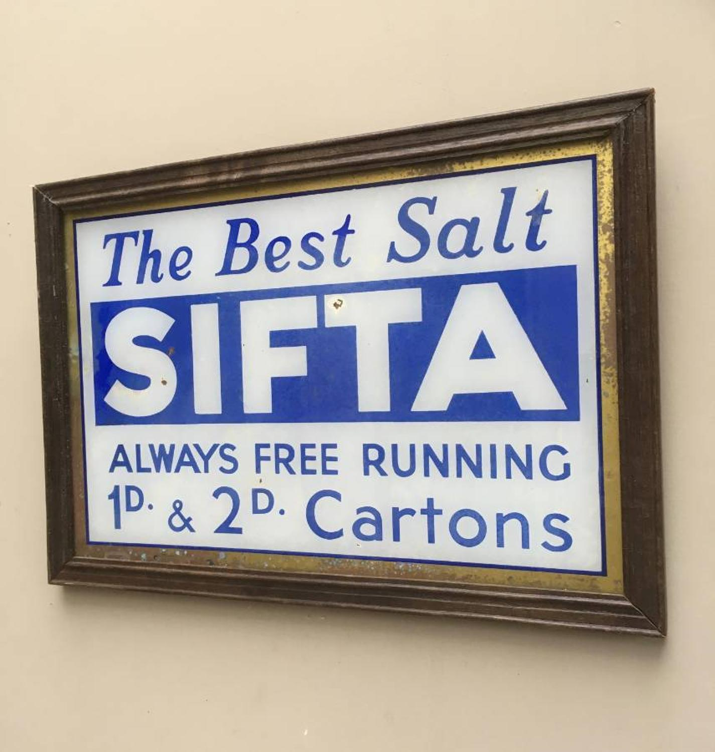 1930s Glass Advertising Sign - Sifta Salt
