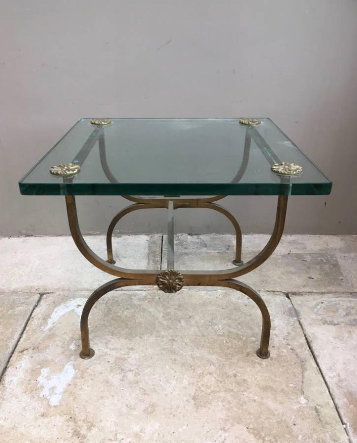 Mid Century Glass Topped Brass Side Table