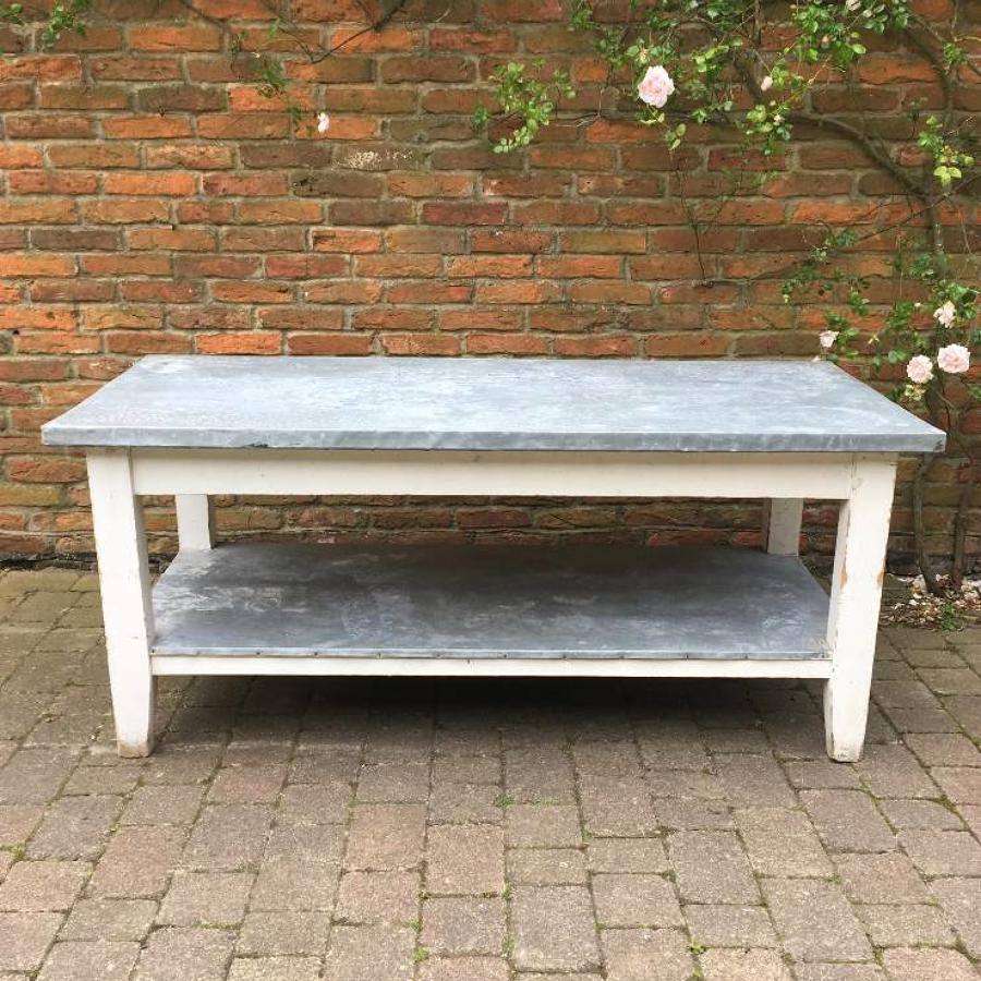 Edwardian Pine Zinc Topped Work Preparation Table - Great Centre Piece