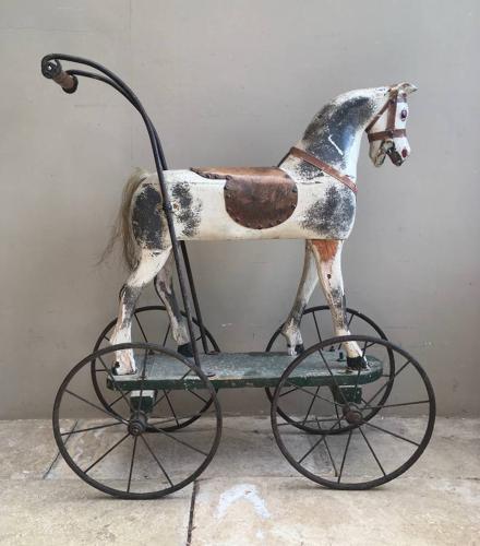 Victorian Pine Push Along Horse - Fantastic Iron Wheels