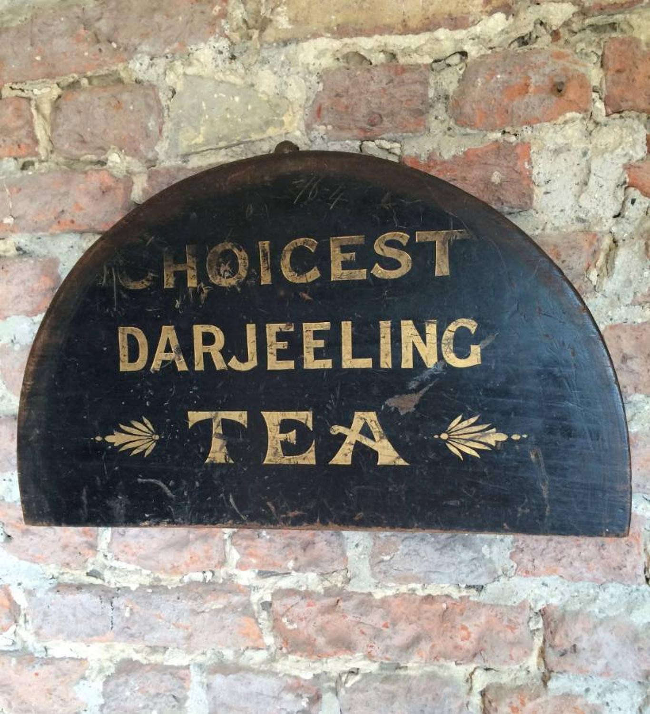 Victorian Painted Pine Shops Advertising Sign - Choicest Darjeeling Te