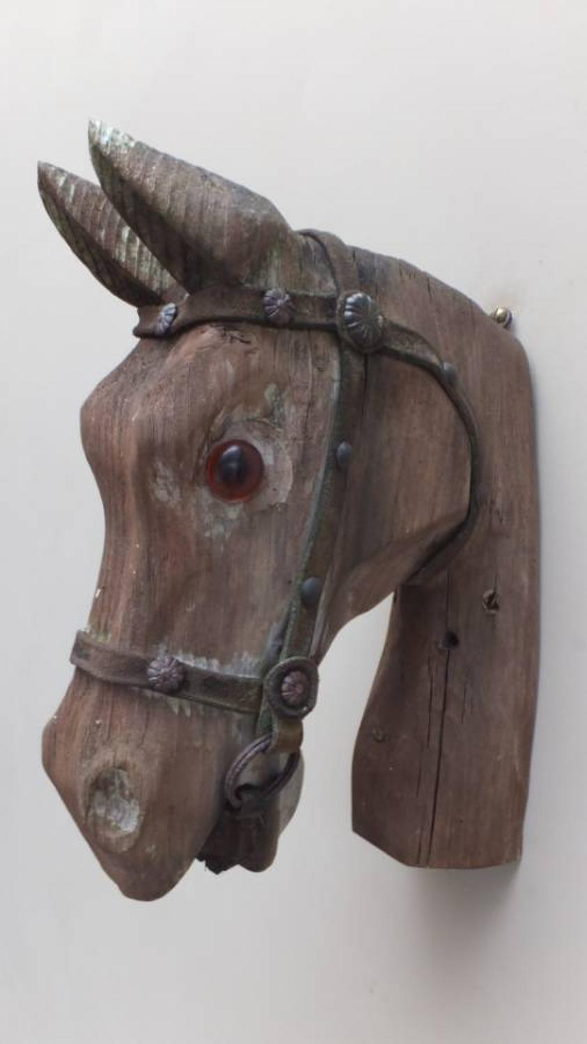 Early 20th Century Carved Pine Horse Head