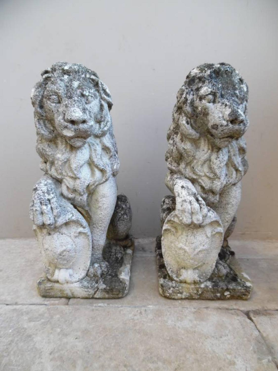 Wonderful Pair of 1920s Reconstituted Lions