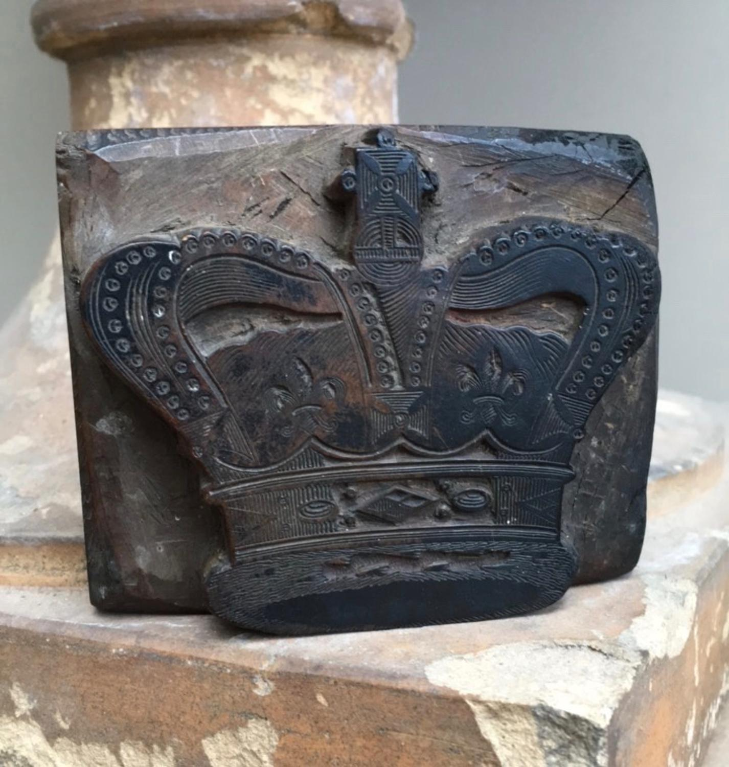 Victorian Treen Printing Block - Royal Crown