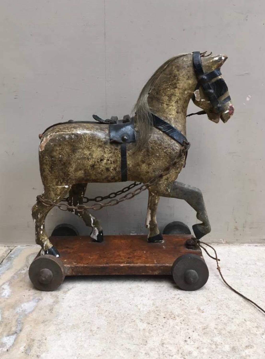 Victorian Gesso on Pine Horse on Wheels in Original Paint