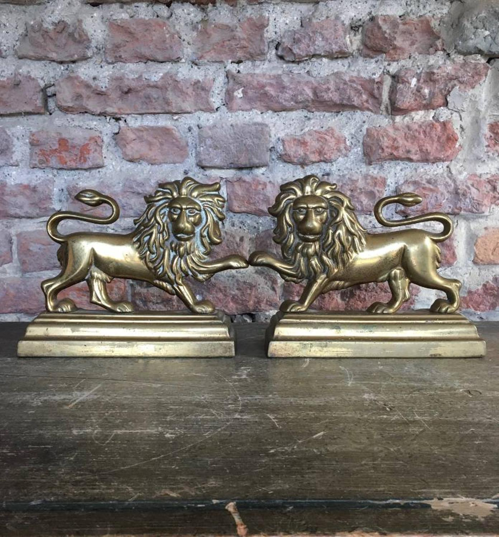 Superb Pair of Victorian Brass Lions