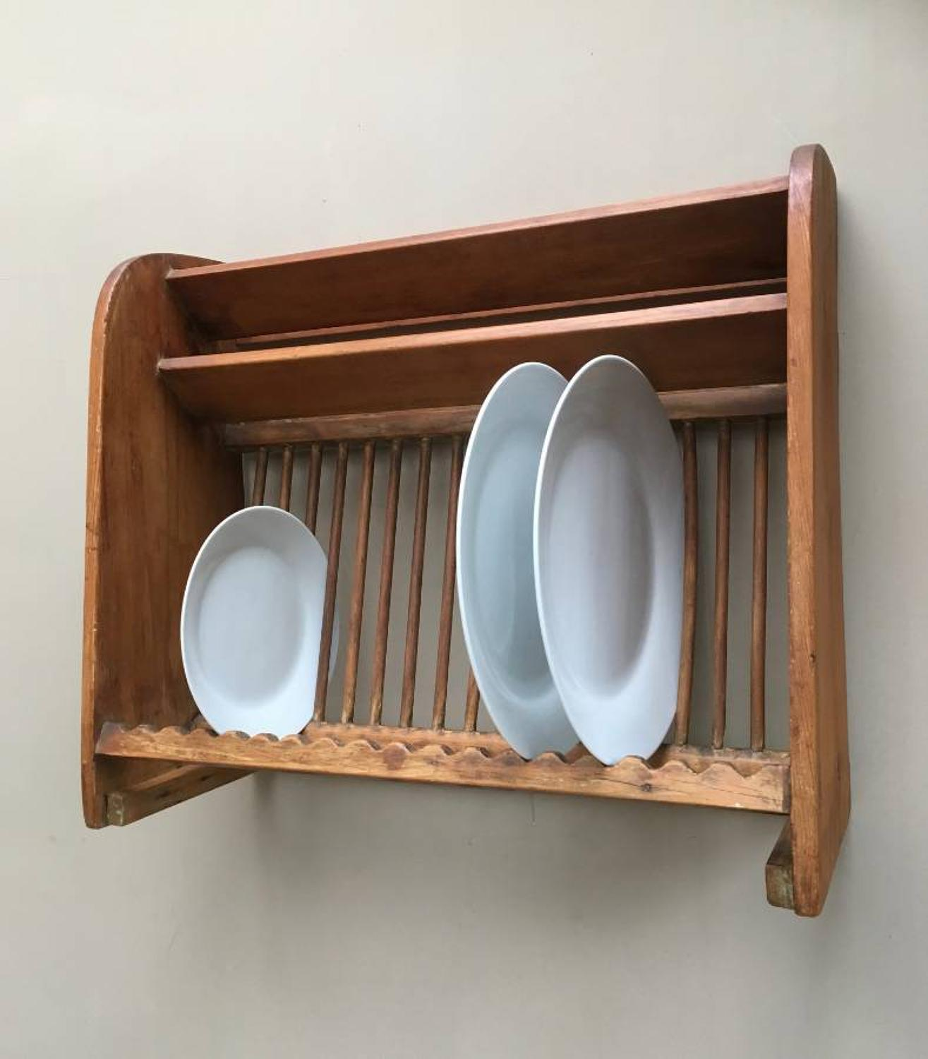 Late Victorian Stripped Pine Plate Rack with Top Cup & Saucers Racks
