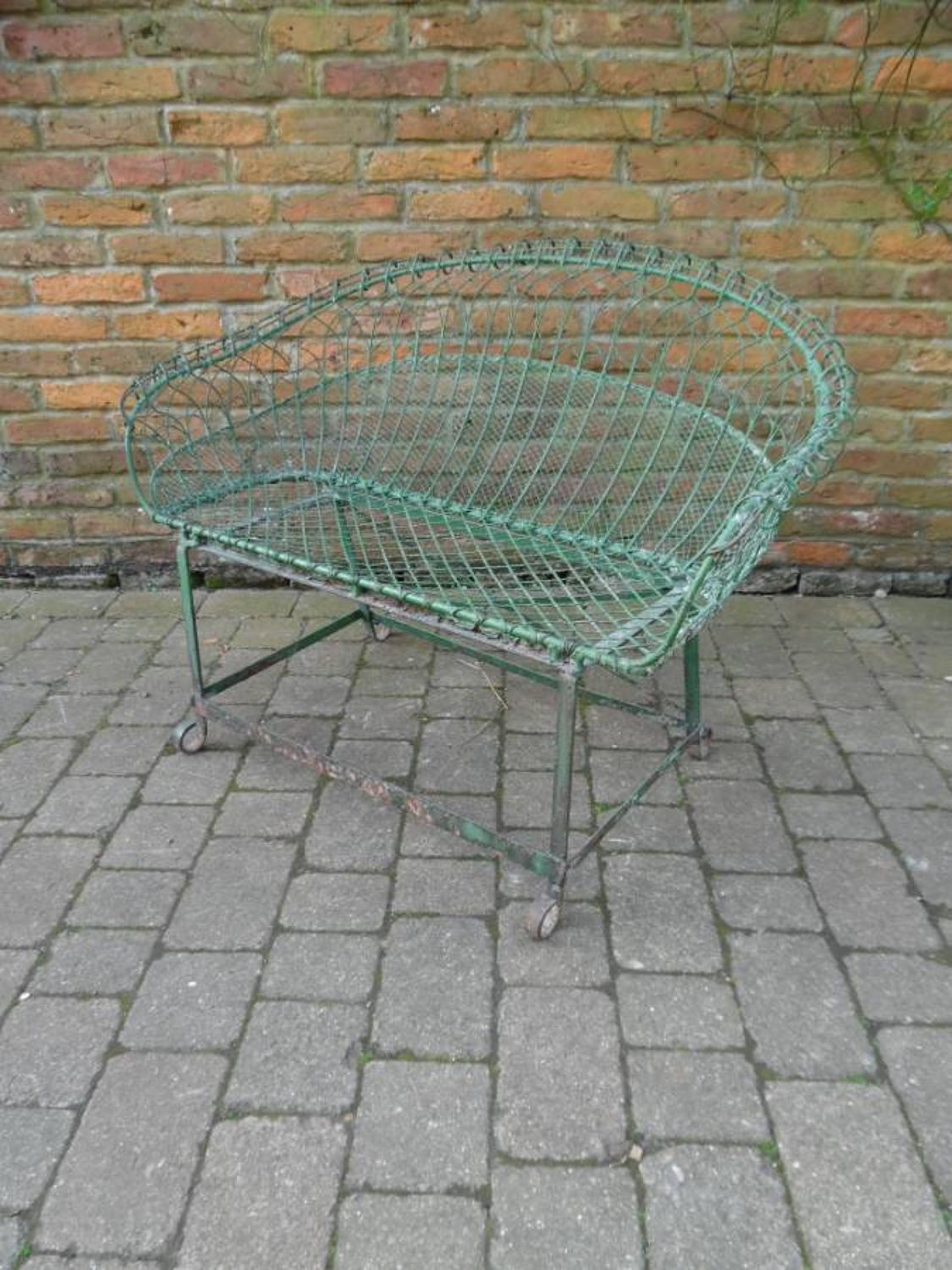 Late Victorian Wire Work Two Seat in Original Paint