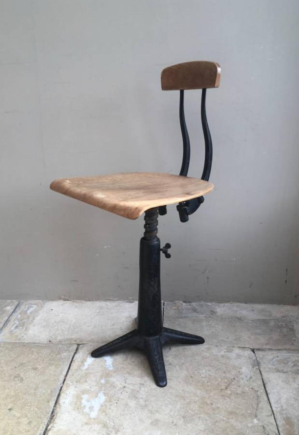 Mid Century Singer Machinists Industrial Chair