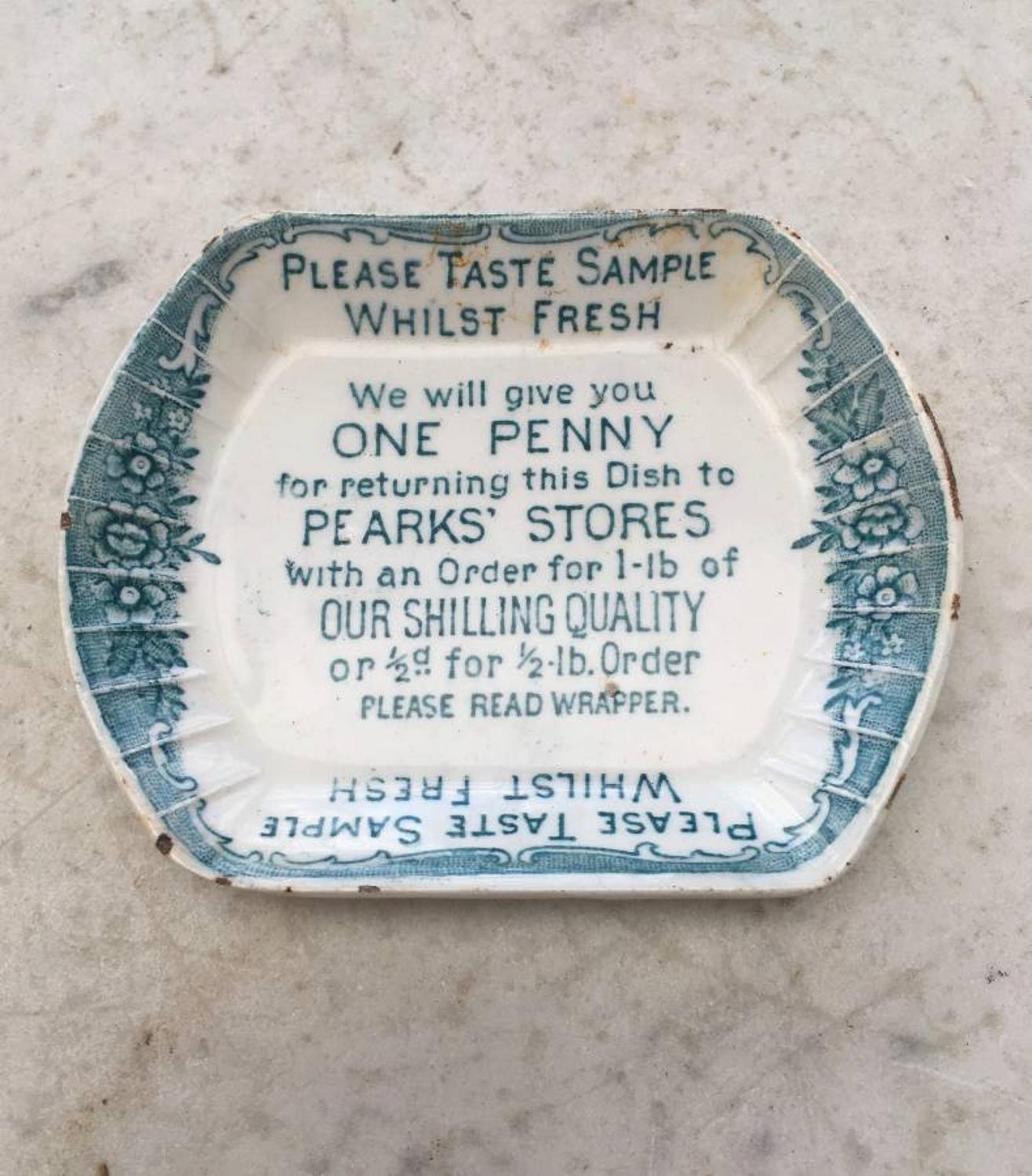 Rare Early 20th Century Advertising Sample Seafood Dish for Pearks Sto