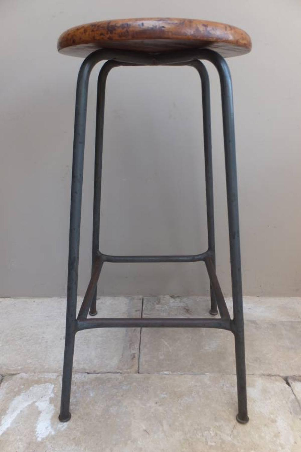 Mid 20th Century (1960) Industrial Iron & Oak Stool