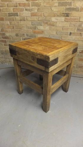 Antique Butcher`s Block on Original Base