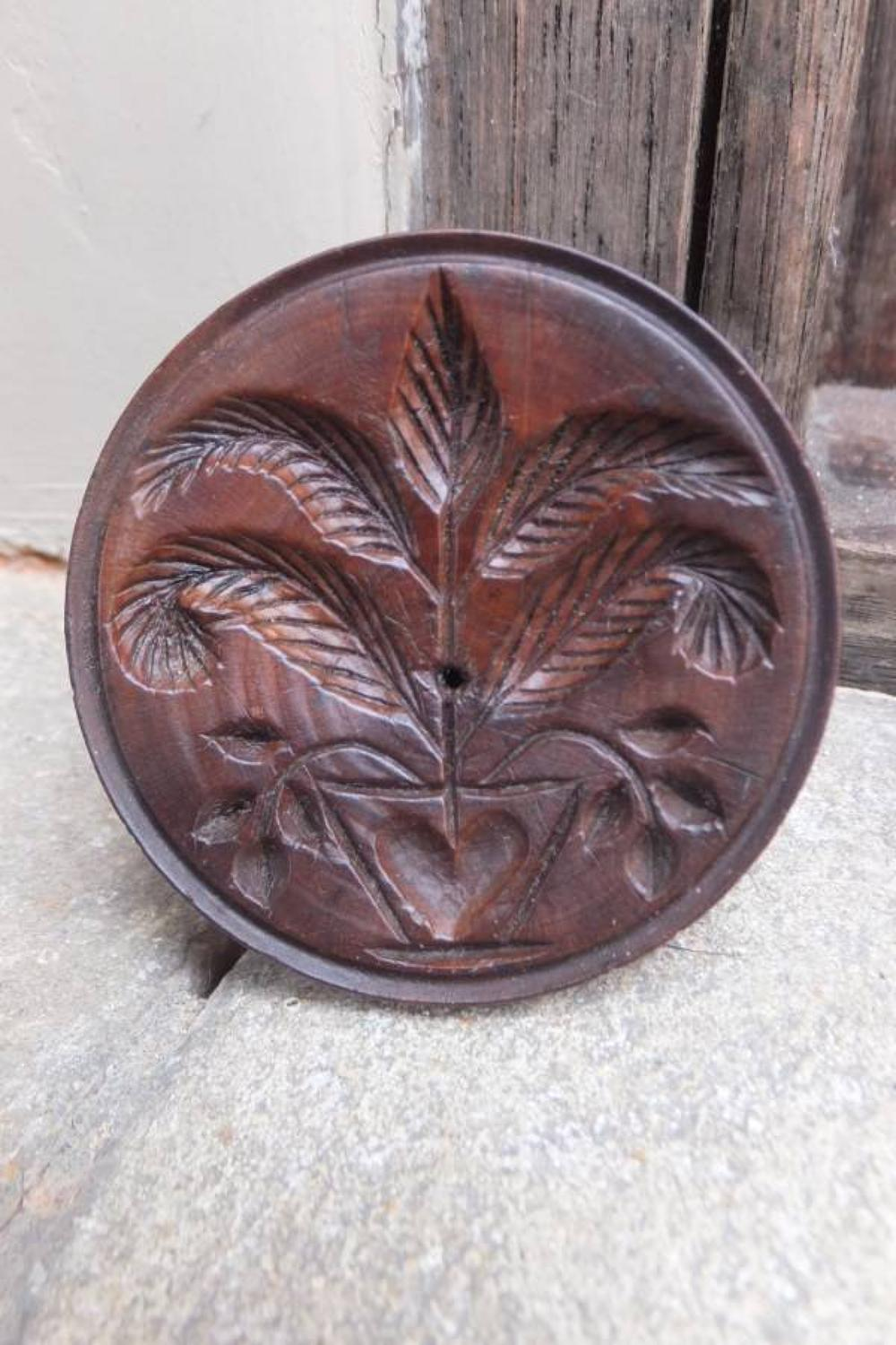 Georgian Treen Butter Stamp - Urn with Heart & Foilage
