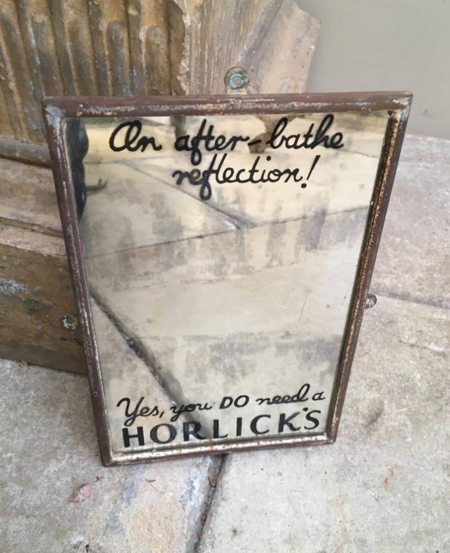 Rare 1940s Small & Humorous Advertising Mirror for Horlicks