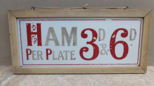 Edwardian Butchers Sign in Original Frame