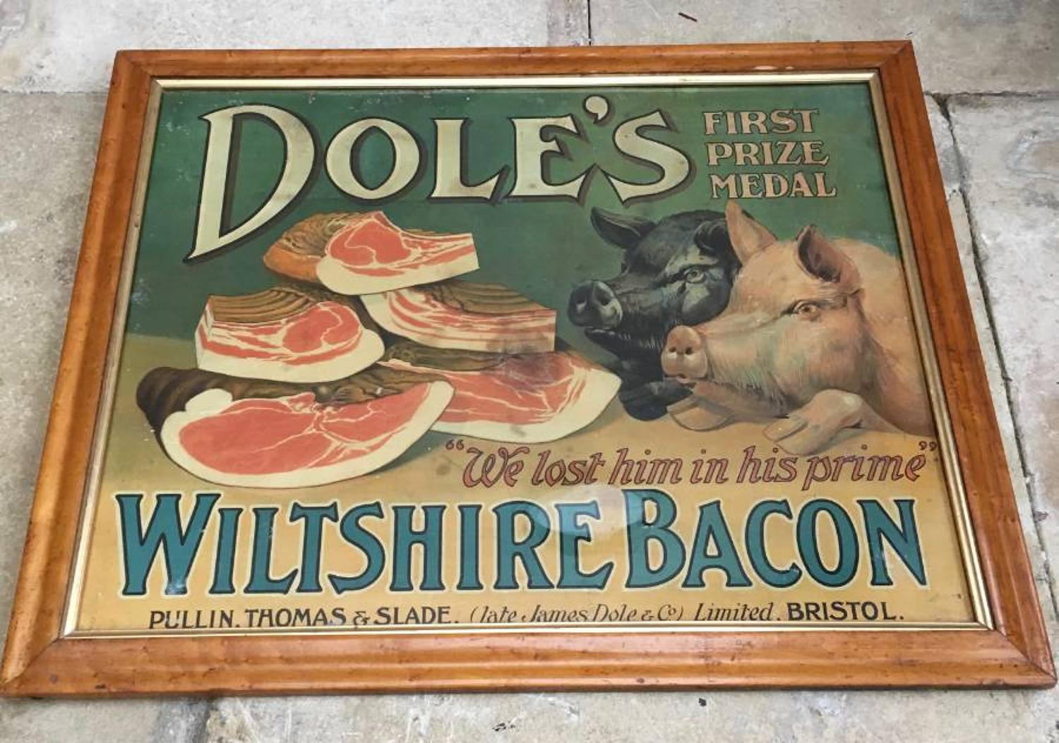 Edwardian Butchers Advertising Sign for Doles Wiltshire Bacon in Perio