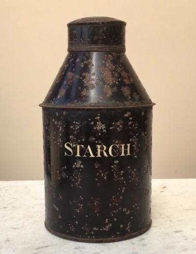 Early Victorian Toleware Jar - Starch