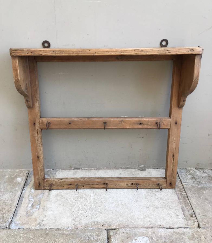 Early 20th Century Pine Utensil or Mug Rack with Shelf Top