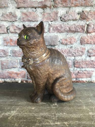 Victorian Terracotta Cat - Fantastic Green Glass Eyes