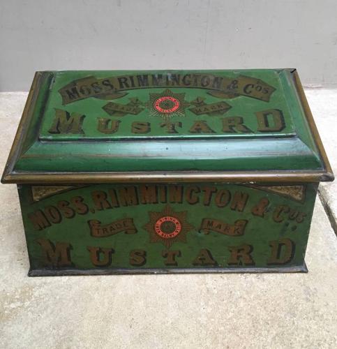 Rare Victorian Shops Counter Top Moss Rimmington & Cos Mustard Tin 187