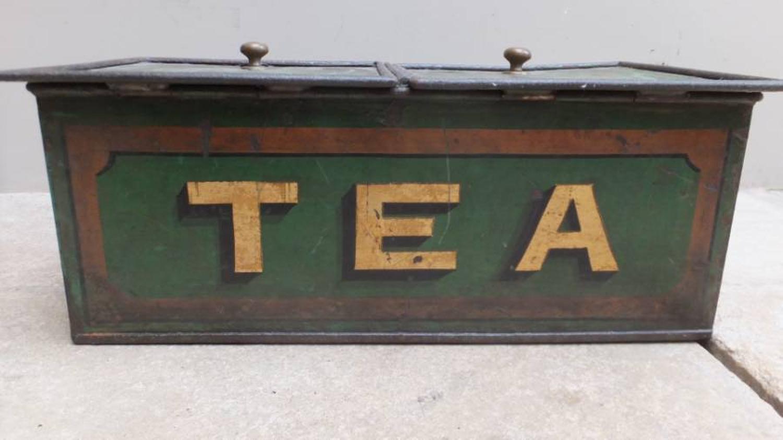 Very Rare Victorian Toleware Shops Tea Tin