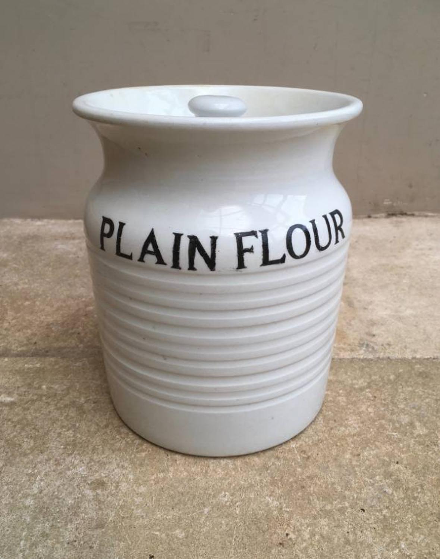 Rare & Large Gresley White Banded Storage Jar - Plain Flour