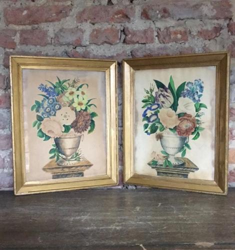 Pair of Victorian Watercolour Paintings  Floral Urns