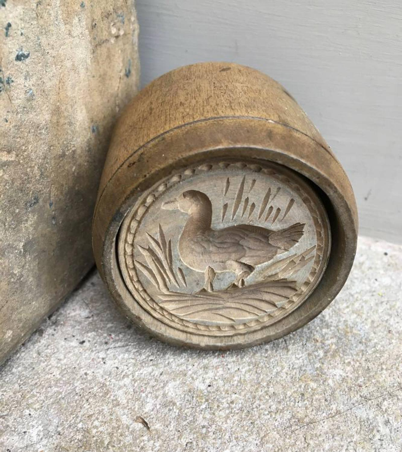 Rare Victorian Two Part Butter Stamp - Moorhen