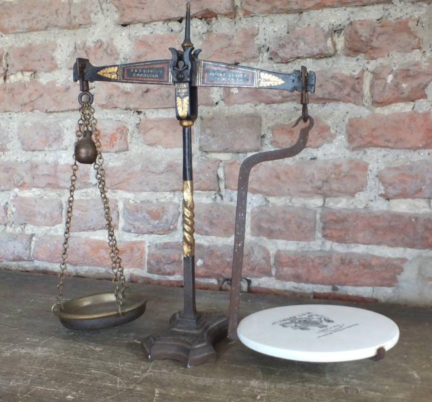 Small Edwardian Avery Grocers Butter Scales - To Weigh 3lb