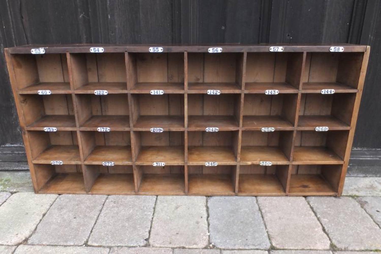Edwardian Set of 24 Pigeon Holes with Enamel Numbers - Kings College C
