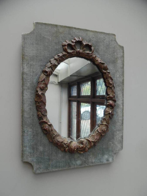 1930s Gilded Ribbon Top Mirror on Velvet Background