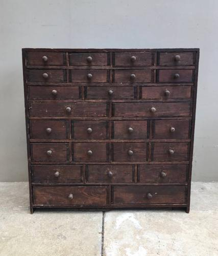 Edwardian Pine Bank of Twenty Six Seed Drawers - Complete Original Con