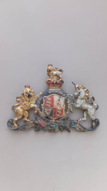 Victorian Cast Bronze Armorial Crest in Original Paint