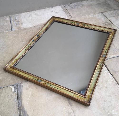 Early 20th Century Painted Floral & Gilt Mirror