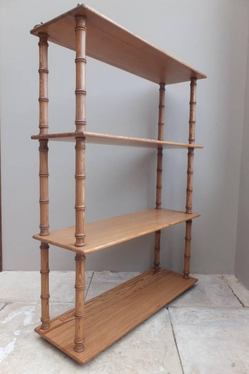Quality Regency Pine Shelves - Faux Bamboo Supports with Brass Rods