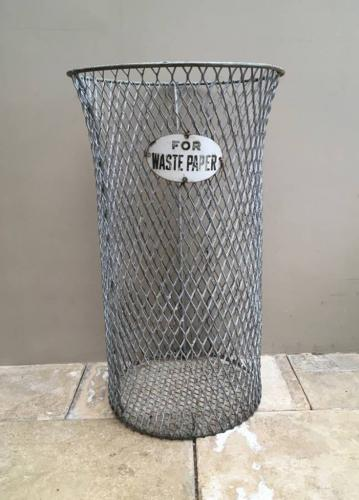 1920s Galvanised Waste Paper Basket with its Original Enamel Label